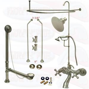 Satin Brushed Nickel Clawfoot Tub Faucet Kit  Faucet, Shower Enclosure W/Head, Drain & Supply
