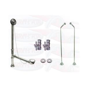 Polished Chrome Clawfoot Drain, Supply & Stop Kit - Double Offset - Cross Handles