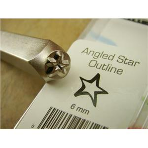 """Angled Star Outline"" Sign 1/4""-6mm-Large Stamp-Metal-Leather-Gold & Silver Bars"