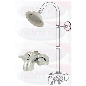 Chrome Clawfoot Tub Add-A-Shower Kit With Porcelain Sunflower Shower Head