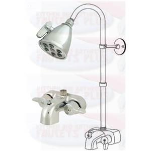 Chrome Clawfoot Tub Add A Shower Kit with K138A1 Head