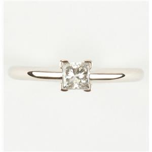 "Ladies 14k White Gold Princess Cut ""H"" Diamond Solitaire Engagement Ring .32ct"