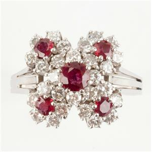Ladies 14k White Gold Round Cut Ruby & Diamond Cluster Cocktail Ring 1.76ctw
