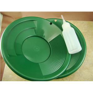 "Lot of 5 - 8"" Green Gold Pans w/ Bottle Snuffer-Panning Kit-Prospecting-Mining"