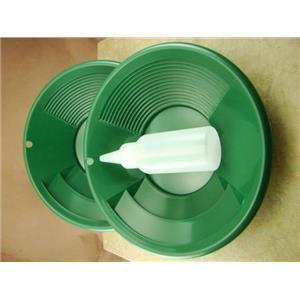"Lot of 10 - 8"" Green Gold Pans w/ Bottle Snuffer-Panning Kit-Prospecting-Mining"