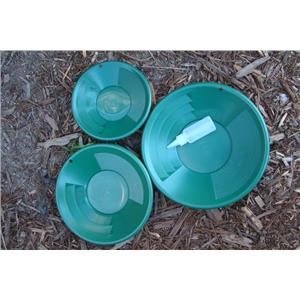 "Lot of 3 Green Gold Pans 8""-10""-12"" w/ Bottle Snuffer-Panning Kit-Mining"