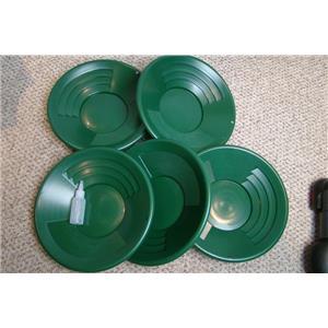"Lot of 5-14"" Green Gold Pans + Bottle Snuffer - Mining-Panning Kit-Prospecting"