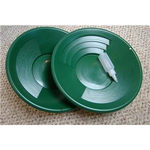 "Set of 2-14"" Green Gold Pans Bottle Snuffer - Mining-Panning Kit-Prospecting"