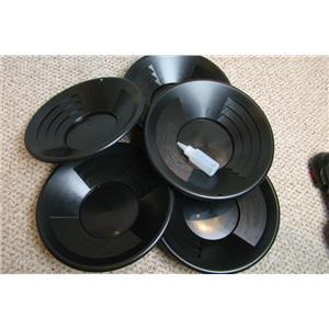 "Lot of 10-14"" Black Gold Pans + Bottle Snuffer - Mining-Panning Kit-Prospecting"