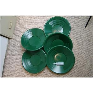 "Lot of 25-14"" Green Gold Pans + Bottle Snuffer - Mining-Panning Kit-Prospecting"