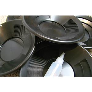 "Lot of 50 - 10"" Black Gold Pans w/ Bottle Snuffer-Panning Kit-Mining Wholesale"