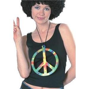 Big Peace Symbol 70s Hippie Make Love Not War Necklace
