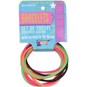 Set of 12 Assorted Pink Orange Black Lime Rubber 80's Jelly Bracelets