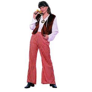 60's Groovy Female Hippie Adult Costume Fur Vest Striped Bell Bottom Pants