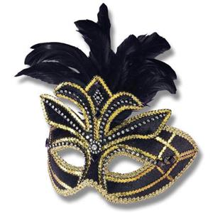 Fancy Black Feathered Venetian Adult Mask