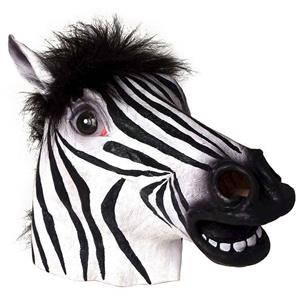 Zebra Deluxe Latex Mask with Mane Farm Animal