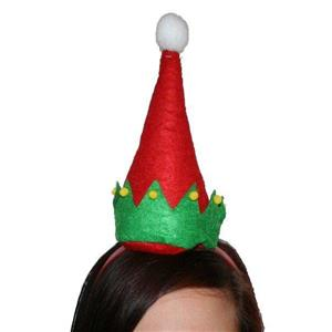 Christmas Elf Hat with Pom Poms on Headband