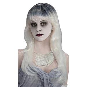 Haunted Ghost Long Gray and White Wig with Bangs