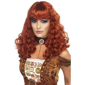 Female Auburn Red Curly Steampunk Wig with Bangs