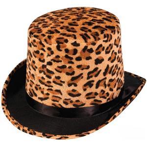 Leopard Print Plush Top Hat