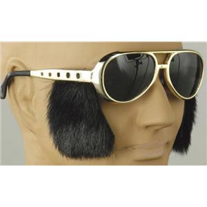 King of Rock N Roll Elvis Presley Glasses with Side Burns Gold Sunglasses
