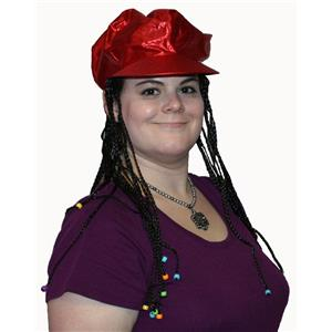 Red Alicia Go Go Cap with Attached Black Braids Wigs and Colorful Beads