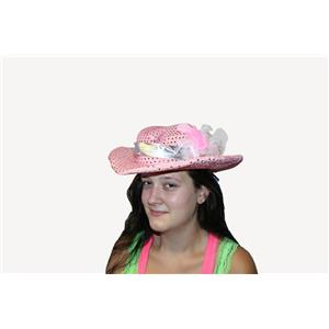 Rhinestone Pink Sequin Cowgirl Gal Feather Girl Dress Up Costume Hat