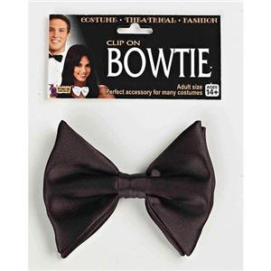 Black Formal Clip-On Bowtie Costume Party Accessory Nerd Dork Scientist