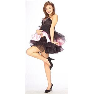 Short Black Crinoline with Black Trim Std Adult Size