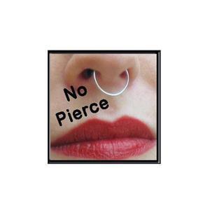 2 Fake Nose or Lip Rings - Silver Bull Hoop Ring