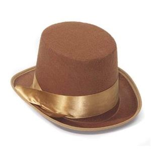 Steampunk Brown Tan Bell Hop Topper Victorian Willy Wonka Costume Top Hat