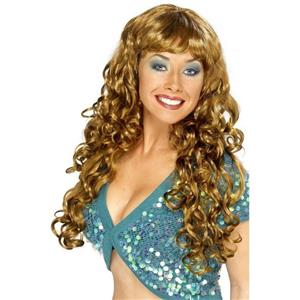 Long Curly Brown Siren Women's Costume Wig One Size