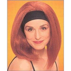 Natural Red Beach Bunny Shoulder Length Wig with Attached Black Headband