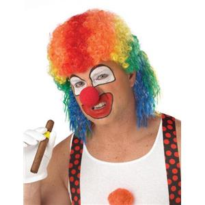 Rainbow Cranky the Clown Mullet Wig