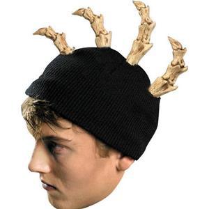 Bone Mohawk Beanie Black Knit Hat with Bone Spikes