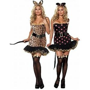 When the Cat's Away Mouse and Cat Dress Sexy Adult Reversible Womens Costume XL