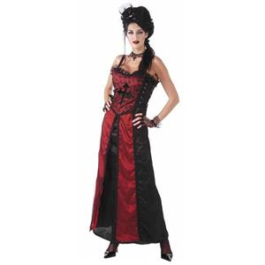 Gothic Couture: Mistress Gothique Adult Costume Red and Black Sexy Dress Gothic