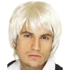 Men's Platinum Bleach Blonde Surfer Boy Band Idol Fringe Wig