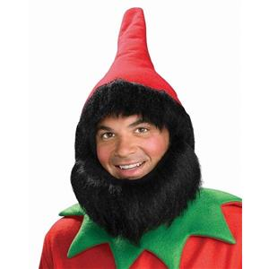 Red Elf Gnome or Dwarf Hat with Attached Wig and Beard
