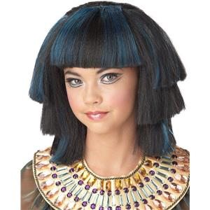 Egyptian Blue and Black Stepped Layers Child Wig