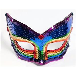 Rainbow Sequin Venetian Eyemask with Eyeglass Armbands