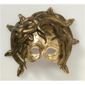 Medusa Gold Venetian Mask with Snake Design