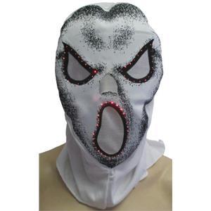 White Fiber Optic Skull Hood Costume Accessory