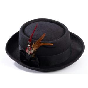 Black Pork Pie Costume Hat with Feather