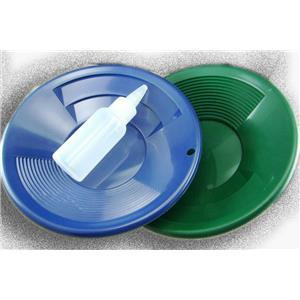 "Lot of 2 - 8"" Blue & Green Gold Pans w/ Bottle Snuffer-Panning Kit-Prospecting"