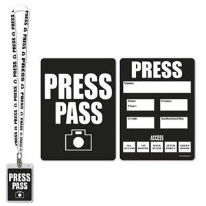 Press Party Pass Lanyard with Card and Card Holder Costume Accessory