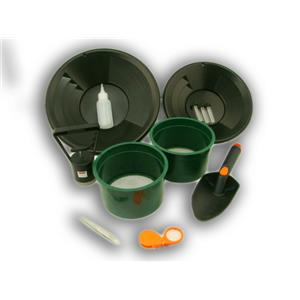 Gold Panning Kit with 2-Classifiers Screens 2-Black Pans-Scoop-Magnet-Snuffer ++