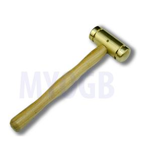 "Brass Head Hammer-Wood handle 7-3/8"" Stamp-Gold-Leather & Silver Bars Hobby"