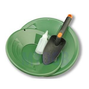"Gold Panning Kit 10"" & 12"" Green Pans Bottle Snuffer & Scoop-Mining Prospecting"