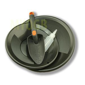 "Gold Panning Kit 10"" & 12"" Black Pans Bottle Snuffer & Scoop-Mining Prospecting"